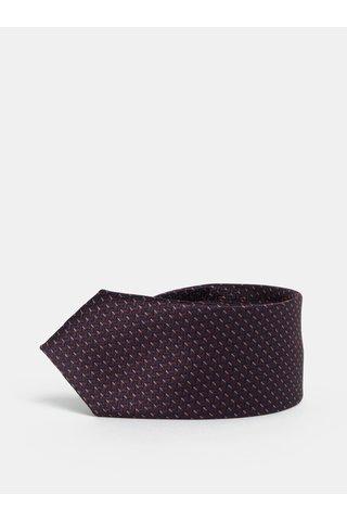 Cravata slim albastru-visiniu cu model Selected Homme Vilhelm