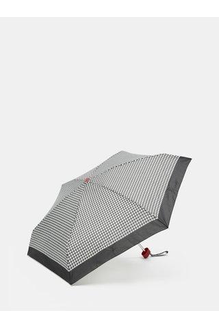 Umbrela telescopica crem-negru cu model Rainy Seasons