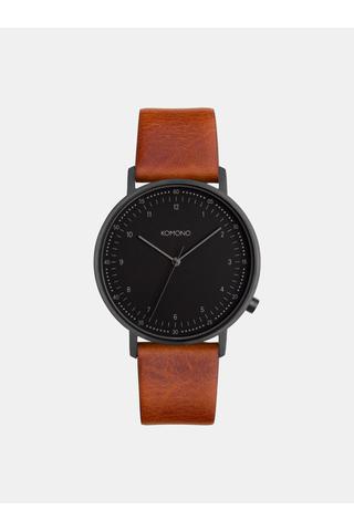 Pánské hodinky v černé barvě s hnědým koženým páskem Komono Winston Subs