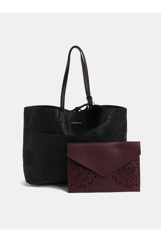 Geanta shopper reversibila visiniu-negru cu geanta plic Desigual Aleida