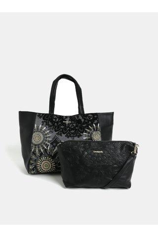 Geanta shopper neagra din piele sintetica cu portofel Desigual Queen Cuenca
