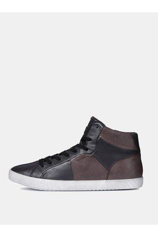 Hnědo-černé pánské kožené kotníkové boty se zipem Geox Smart A
