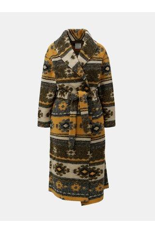 Cardigan crem-oranj cu model din lana si cordon Yerse