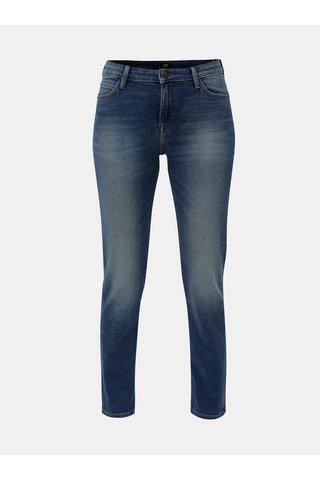 Modré dámské slim džíny s vyšisovaným efektem Lee