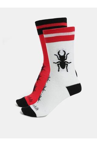 Bílo-červené unisex ponožky Fusakle Paroháč