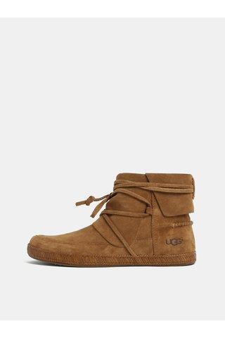 Hnědé zimní kotníkové voděodolné semišové boty UGG Reid