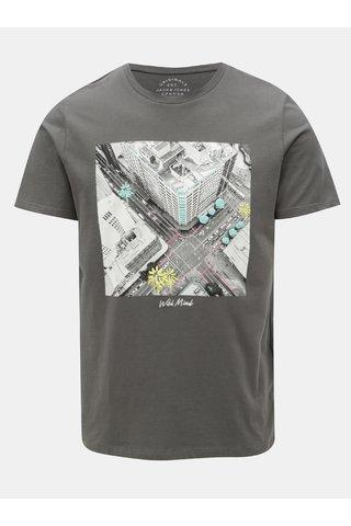 Tricou gri inchis regular cu print Jack & Jones Rail Road