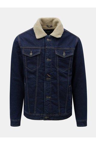 Jacheta albastru inchis din denim cu blana artificiala Jack & Jones