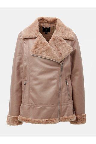 Jacheta biker roz din piele sintetica cu buline Dorothy Perkins