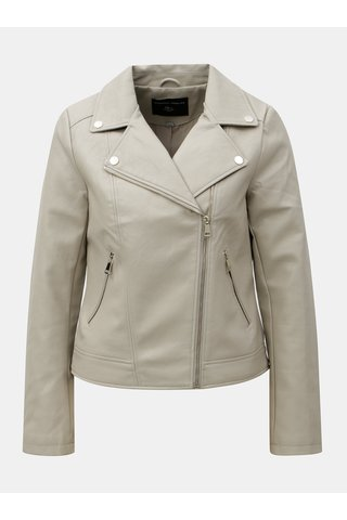 Jacheta biker gri deschis din piele sintetica cu detalii aurii Dorothy Perkins