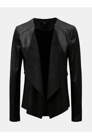 Jacheta neagra din piele sintetica cu clapa Dorothy Perkins