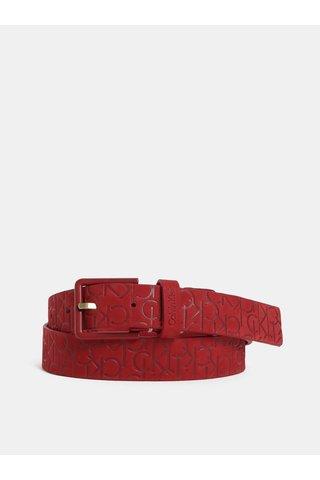 Červený dámský kožený pásek Calvin Klein