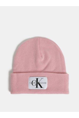 Růžová dámská čepice s příměsí vlny a kašmíru Calvin Klein