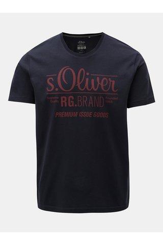 Tricou barbatesc regular fit albastru inchis cu print s.Oliver