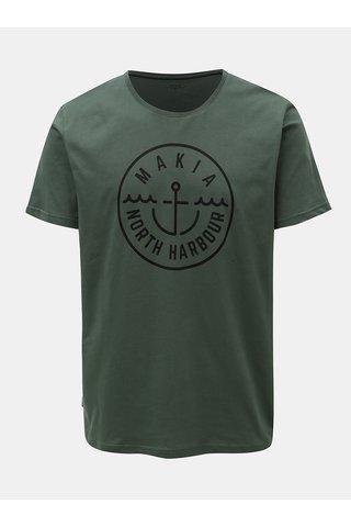Tmavě zelené tričko s potiskem Makia Crown