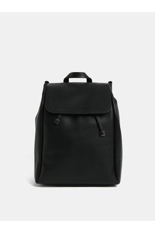 Černý koženkový batoh Pieces Flora
