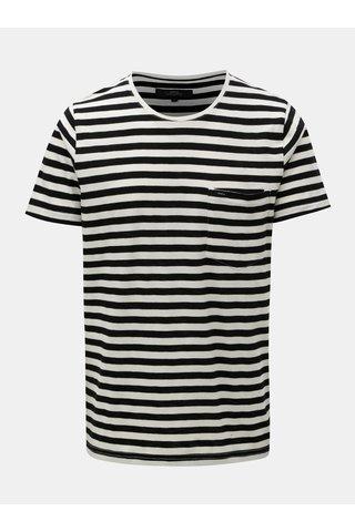 Bílo-černé pruhované tričko s náprsní kapsou Makia Verkstad
