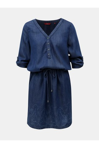 Rochie albastra din denim cu maneci 3/4 s.Oliver