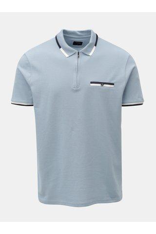 Tricou polo albastru deschis cu fermoar si buzunar la piept Burton Menswear London