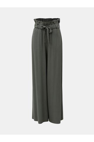 Pantaloni culottes verzi lungi cu banda elastica in talie VILA Amaly