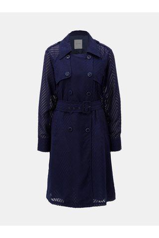 Tmavě modrý lehký kabát s průsvitnými rukávy ELVI