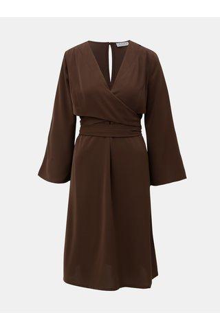 Hnědé šaty s 3/4 zvonovým rukávem ELVI