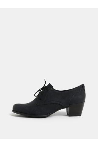 Pantofi gri inchis din piele naturala cu toc Tamaris