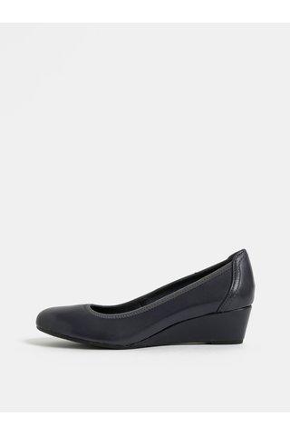 Pantofi albastru inchis din piele naturala cu platforma wedge Tamaris