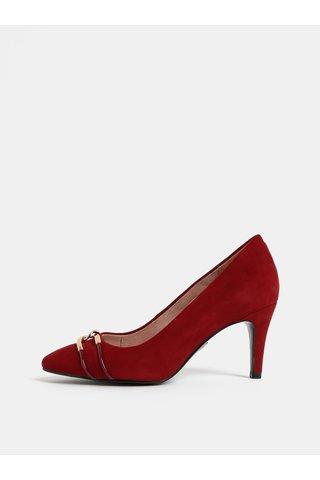 Pantofi rosii din piele intoarsa cu aplicatie aurie Tamaris