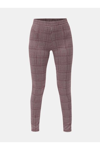 Leggings alb-visiniu tartan ONLY Selma