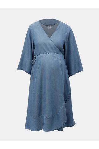 Rochie albastra pentru femei insarcinate cu croi suprapus Mama.licious Isaella