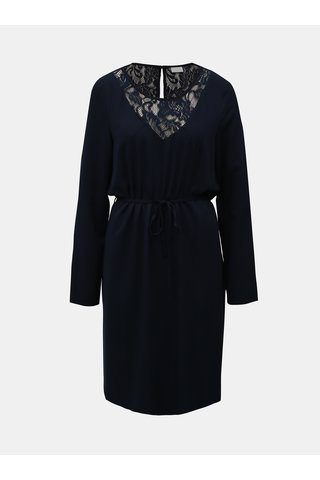 Rochie albastru inchis din dantela cu cordon VILA Verly