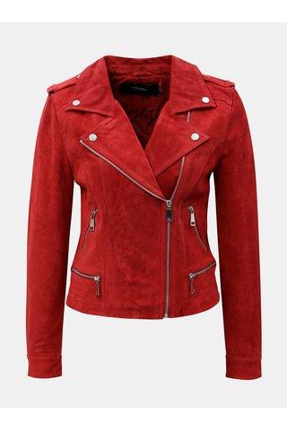 Jacheta biker rosie din piele naturala cu detalii argintii VERO MODA Royce