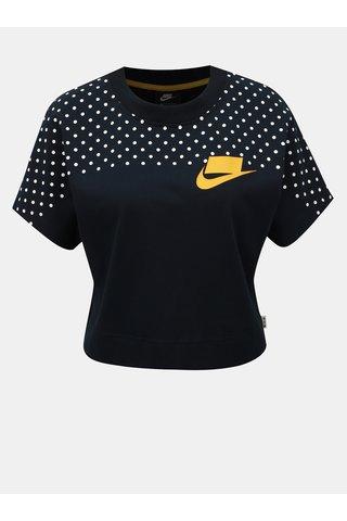 Top crop albastru inchis cu buline Nike