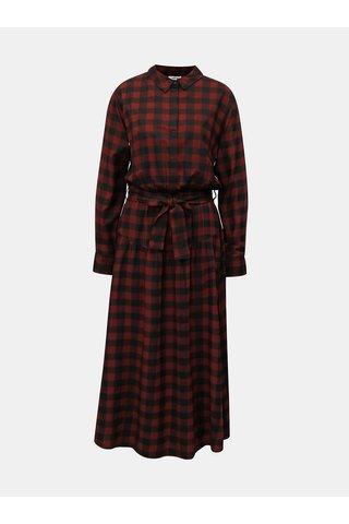 Rochie camasa visiniu-negru lunga in carouri Moss Copenhagen Ena