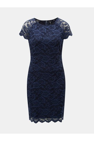 Rochie albastru inchis din dantela cu maneci scurte VERO MODA Milli