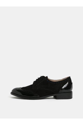 Pantofi negri din piele intoarsa cu detalii lucioase OJJU