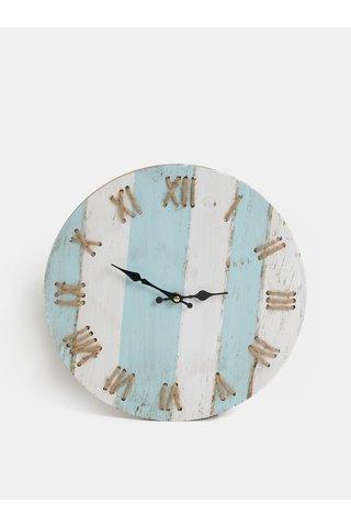 Ceas de perete alb-albastru cu dungi Kaemingk