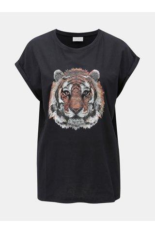 Černé tričko s třpytivým potiskem VILA Tiger Attack