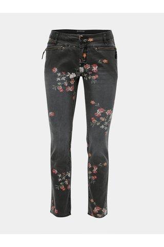 Blugi de dama gri slim fit din denim cu print floral Garcia Jeans