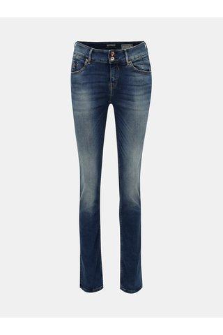 Blugi de dama albastri slim fit din denim cu aspect prespalat Garcia Jeans