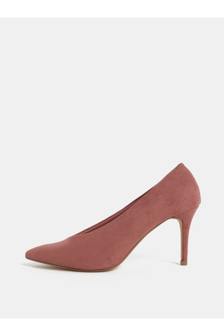 Pantofi roz din textil cu aspect de piele intoarsa si toc cui Dorothy Perkins Gatsby