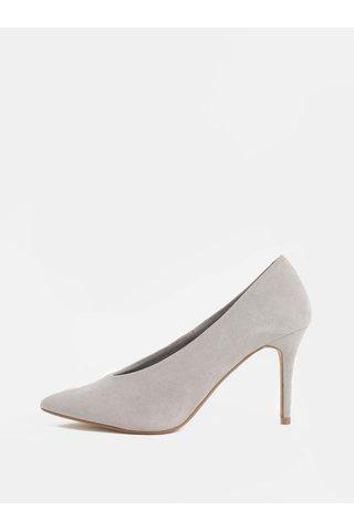 Pantofi gri deschis din textil cu aspect de piele intoarsa si toc cui Dorothy Perkins Gatsby