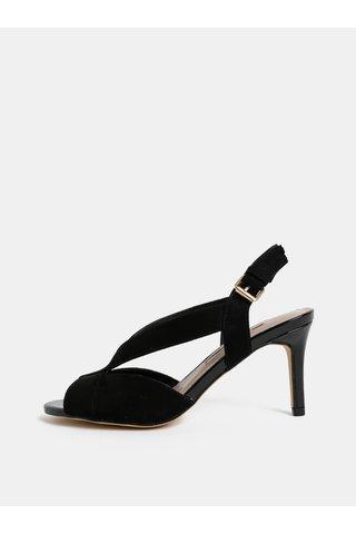 Sandale negre din textil cu aspect de piele intoarsa si toc cui Dorothy Perkins Britney