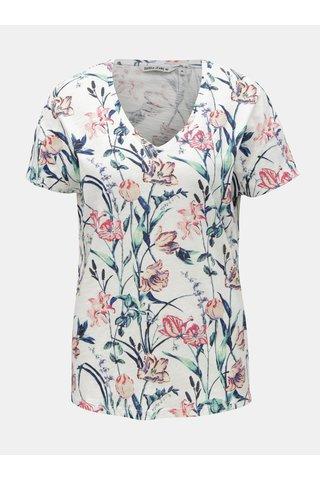 Tricou de dama alb cu model floral Garcia Jeans