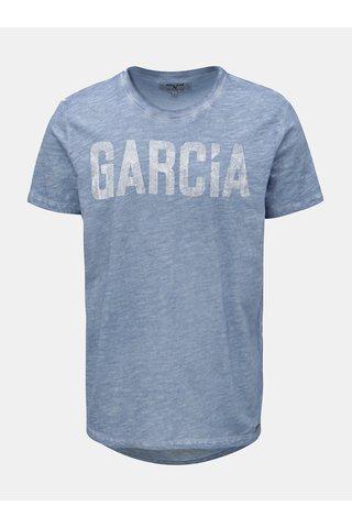 Tricou barbatesc albastru melanj cu print Garcia Jeans