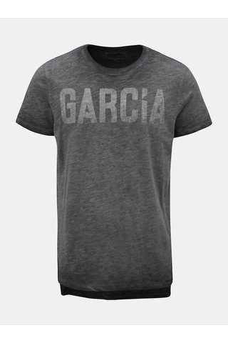 Tricou barbatesc gri melanj cu print Garcia Jeans