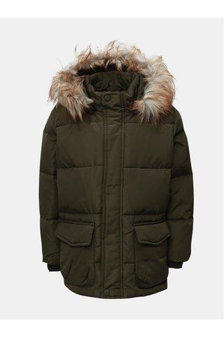 Khaki klučičí zimní bunda s umělým kožíškem Name it Markos