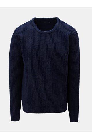 Pulover albastru inchis din lana SUIT Carsten