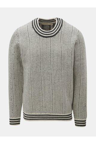 Pulover gri-crem din lana cu model SUIT Nordic